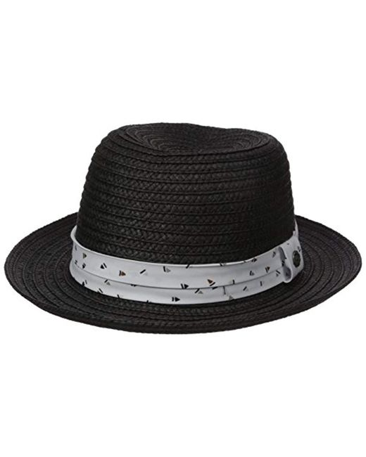 06bb3d83402 Lyst - Perry Ellis Braided Straw Fedora in Black for Men - Save 40%