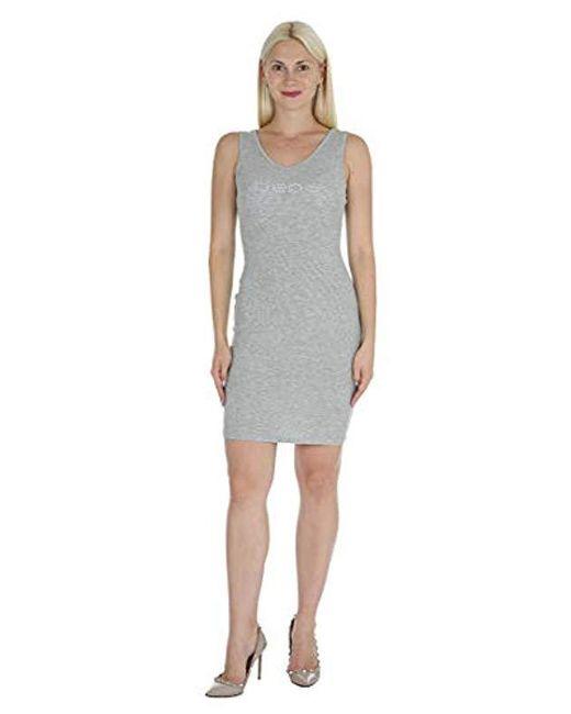 Bebe Gray Sleeveless Tank Style Dress With Scoop Neckline