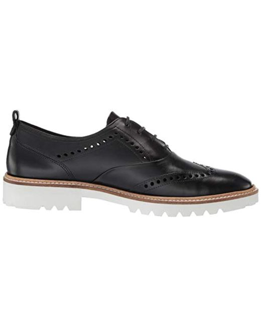 14860f5165455 Ecco Incise Tailored Wing Tip Oxford Flat in Black - Save 13% - Lyst