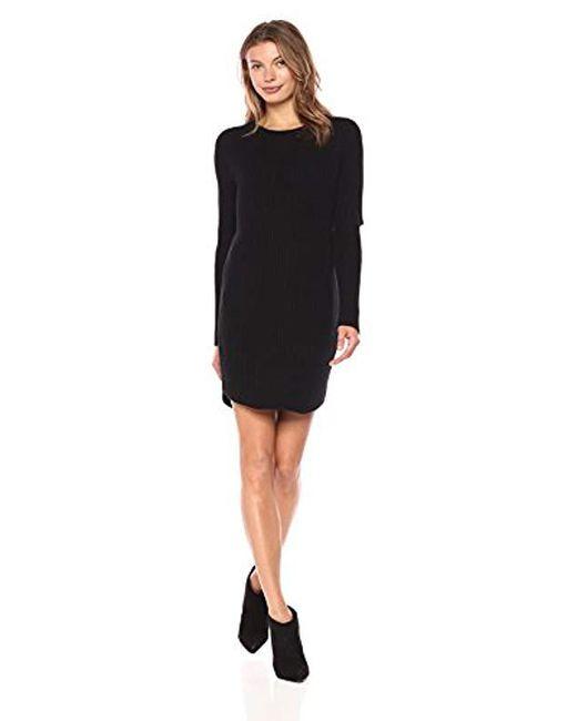 Monrow - Black Sweater Dress W/elbow Slash - Lyst