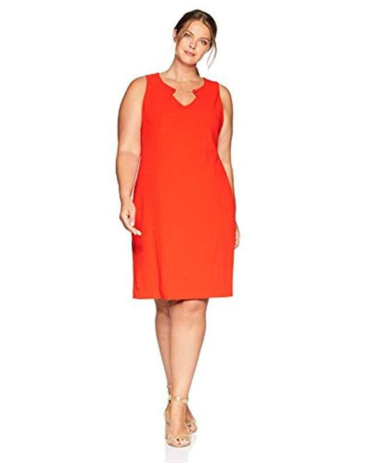 Calvin Klein Red Plus Size Sleeveless Dress With Chain Hardware