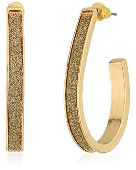 Steve Madden - Metallic Gold Plated Stainless Steel U-shaped Bar Glitter Post Drop Earrings - Lyst