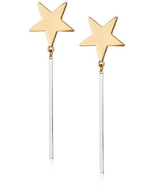 BCBGeneration - Metallic Bcbg Generation Two-tone Star Stick Linear Earrings, Gold-silver, One Size - Lyst