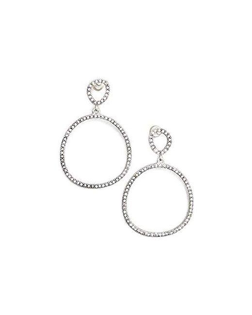Kenneth Cole - Metallic Silver-tone Jeweled Drop Earrings - - Lyst