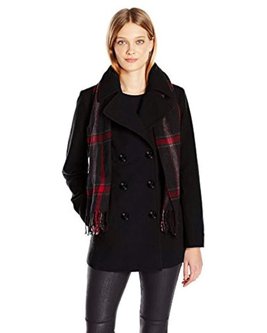 London Fog - Black Double Breasted Peacoat With Scarf - Lyst