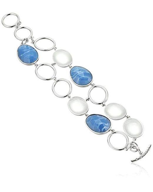 T Tahari - Metallic Silver Blue Toggle Link Bracelet - Lyst