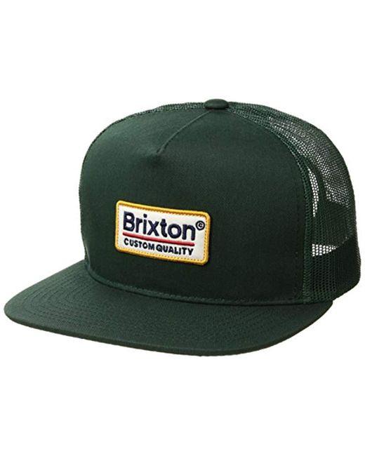 dfe34f0438b2e Brixton - Green Palmer Medium Profile Adjustable Mesh Hat for Men - Lyst ...
