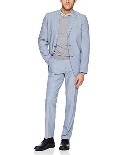 Ben Sherman Blue 2pc Suit With Flat Front Pant for men