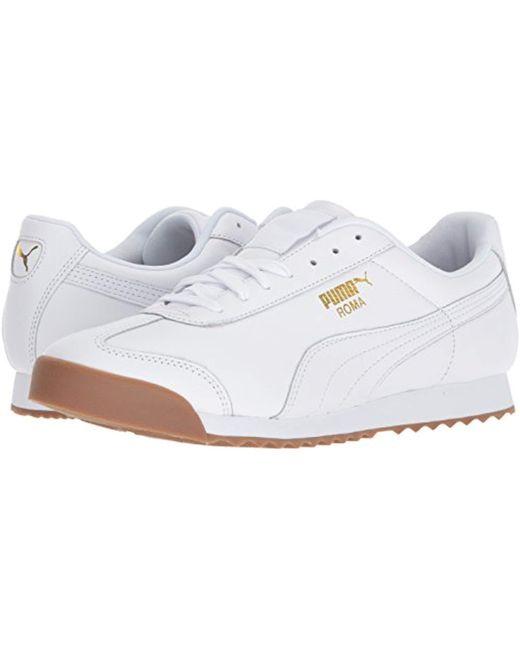 ... PUMA - Roma Classic Gum ( White  Team Gold) Men s Shoes for Men ... 33fd67a29