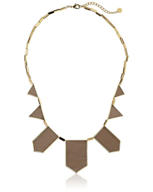 House of Harlow 1960 Metallic Gold-plated Station Leather Necklace