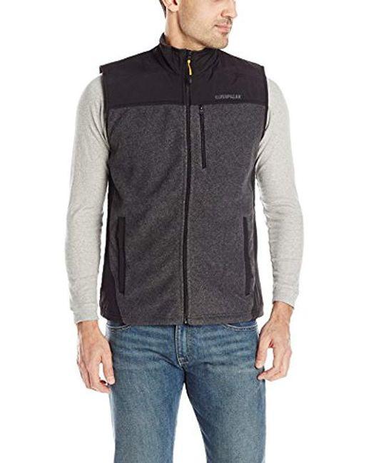 Caterpillar - Gray Momentum Fleece Vest for Men - Lyst