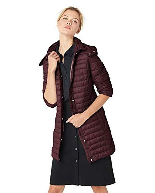 Kenneth Cole - Purple Thigh Length Zip Puffer Jacket With Hood - Lyst