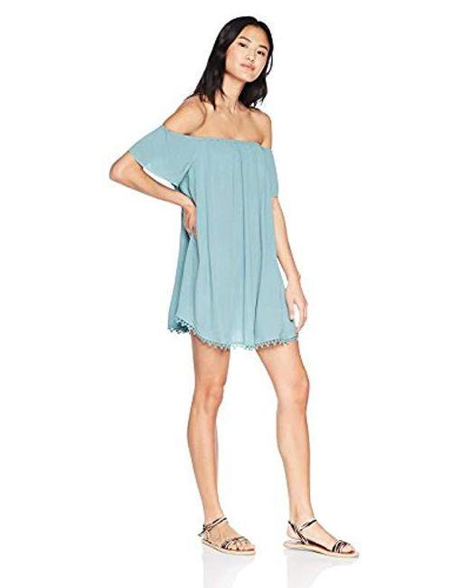 O'neill Sportswear Blue Kinsey Off The Shoulder Dress