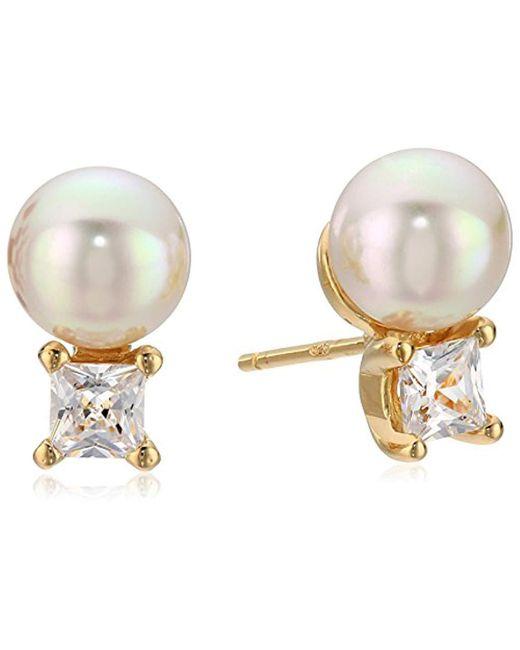 Majorica - White S Tu Y Yo Cz Gold Stud Earrings - Lyst