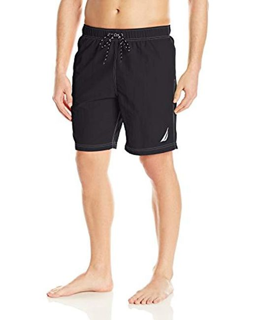 d0c345da52 Nautica - Black Big And Tall Solid Quick Dry Classic Logo Swim Trunk for Men  ...