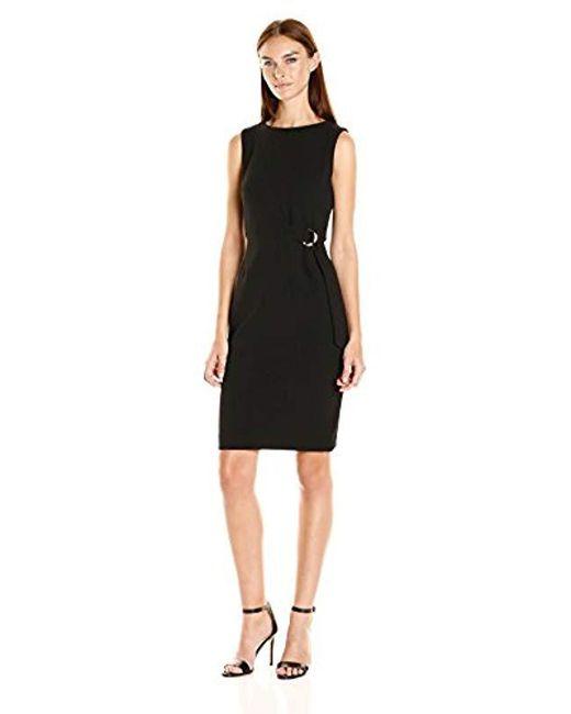 10955b6e38 Calvin Klein - Black Sleeveless Sheath Dress With Hardware At Waist - Lyst  ...