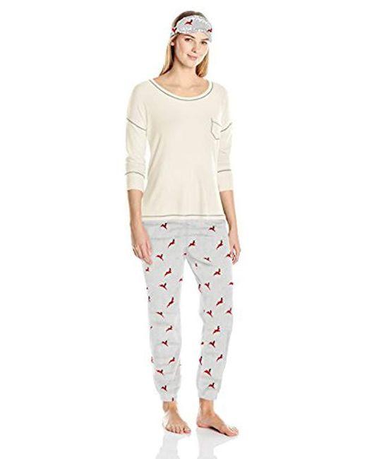 Kensie Gray Long Pant, Long-sleeve Top, And Eye Mask Three-piece Pajama Set