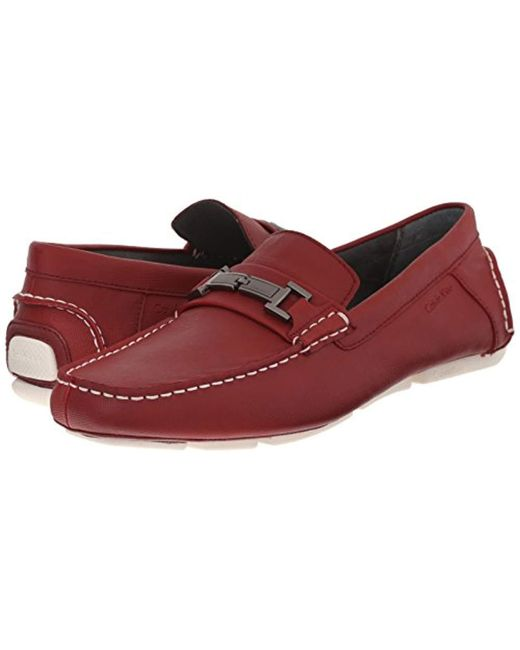 1870bba5344 Lyst - Calvin Klein Magnus Slip-on Loafer in Red for Men - Save 10%