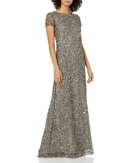 Adrianna Papell Multicolor Short Sleeve All Over Sequin Gown