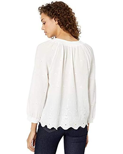 a8091cfedde9e ... Lucky Brand - White Eyelet Scalloped Edge Peasant Top - Lyst