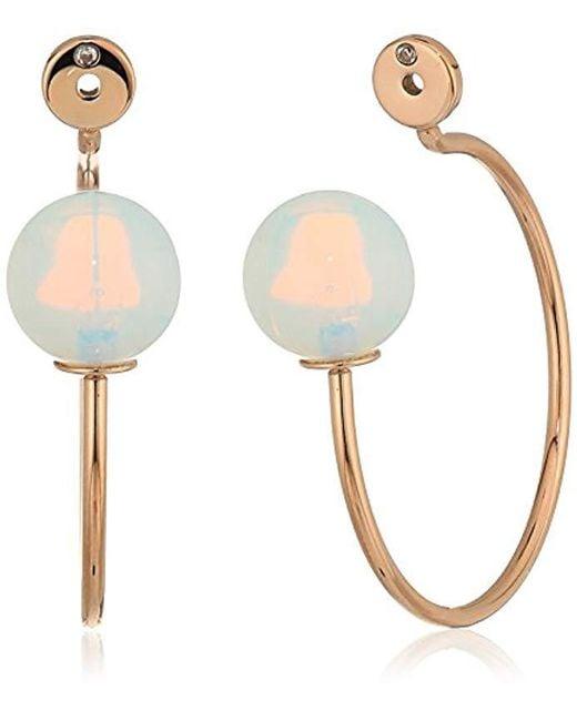Fossil - Multicolor Beaded Hoop Earrings - Lyst