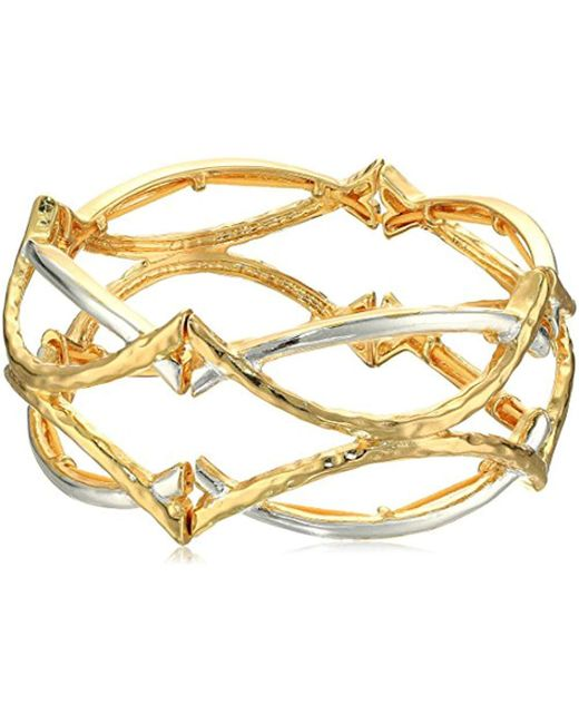 Napier - Metallic Two-tone Open Stretch Bracelet - Lyst