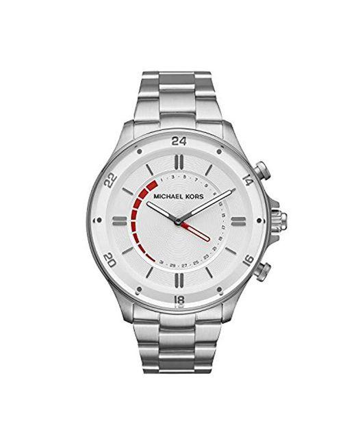 a20d18454831 Michael Kors - Metallic Access Reid Stainless-steel Hybrid Smartwatch for  Men - Lyst ...