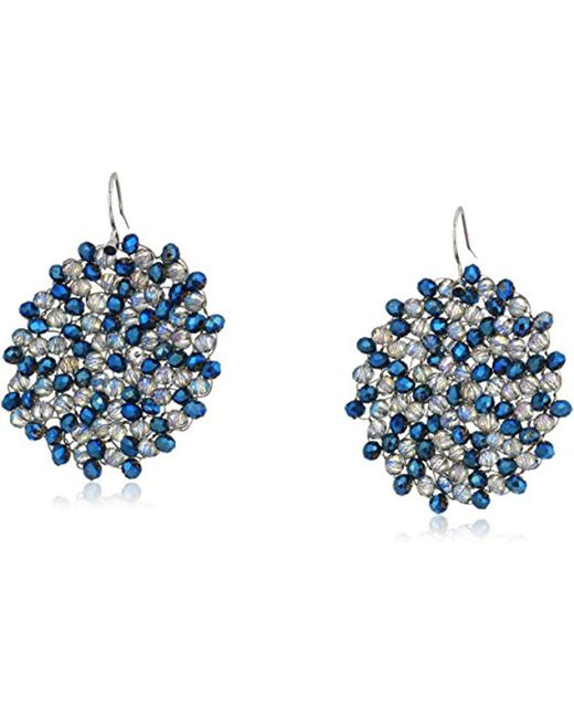 """Kenneth Cole - """"shiny Silver Items"""" Silver And Blue Tonal Beaded Woven Drop Earrings - Lyst"""