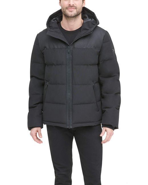DKNY Black Shawn Quilted Mixed Media Hooded Puffer Jacket for men