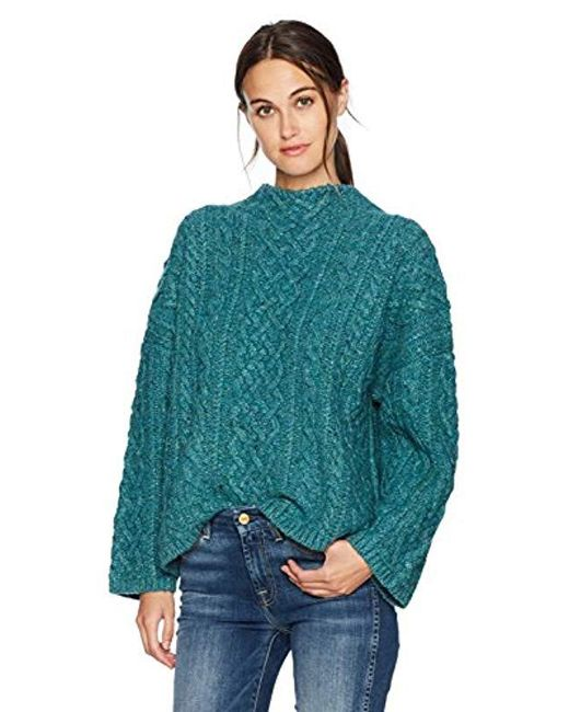 MILLY Green Oversized Fisherman Sweater