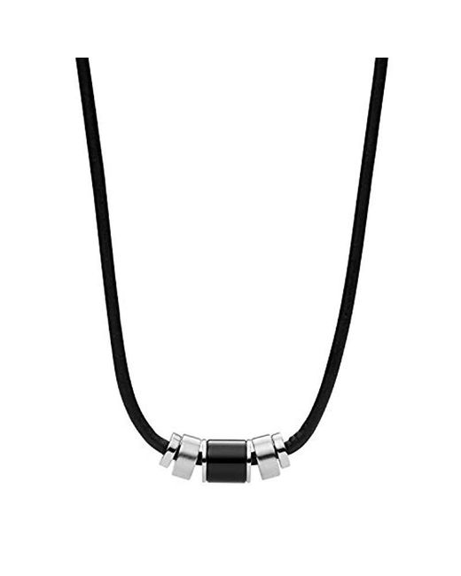 Fossil - Black Leather And Black Agate Bead Necklace, One Size for Men - Lyst