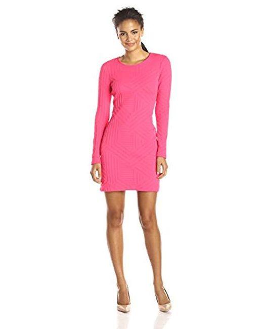 Shoshanna - Pink Embossed Knit Brooklyn Dress - Lyst