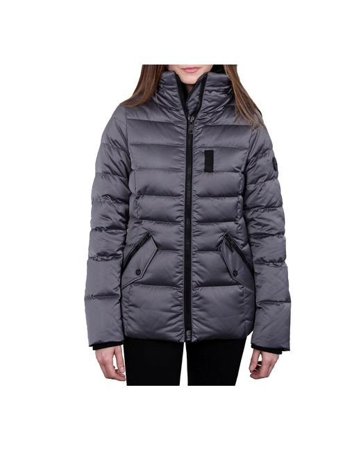 William Rast Womens High Stand Collar Quilted Jacket