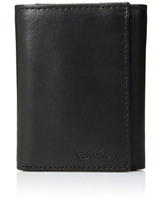 Calvin Klein - Black Leather Trifold for Men - Lyst