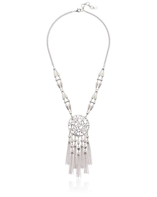 Lucky Brand Metallic Floral Openwork Fringe Necklace