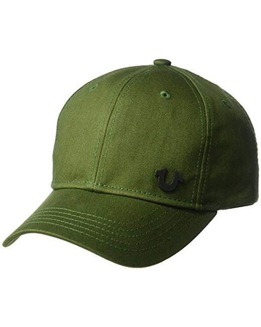 True Religion Green Uk Core Logo Baseball Cap for men