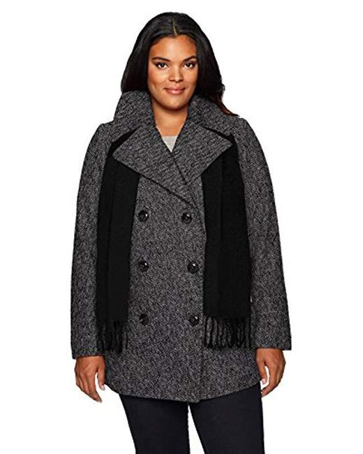 London Fog - Black Plus-size Double Breasted Peacoat With Scarf - Lyst