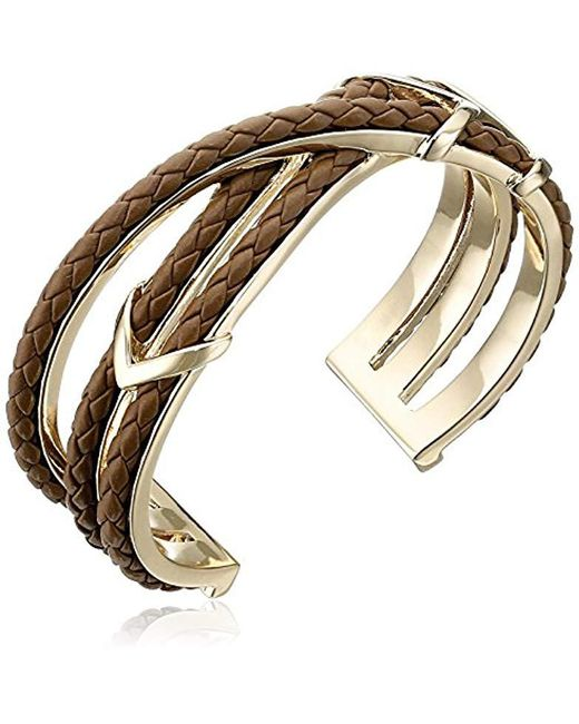 Cole Haan - Metallic Leather Items Brown Chevron Metal And Braided Cuff Bracelet - Lyst