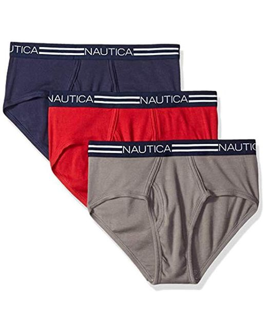 Nautica - Red Comfort Cotton Underwear Fly Front Brief-multi Pack for Men - Lyst