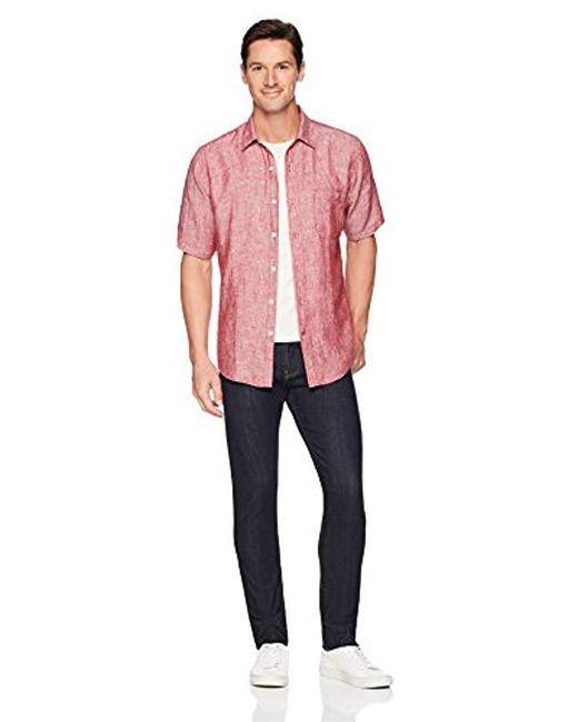 Essentials Mens Regular-fit Short-Sleeve Chambray Shirt