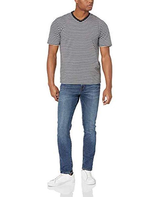 26d2b54fa0 ... Amazon Essentials - Black Loose-fit Short-sleeve Stripe V-neck T- ...
