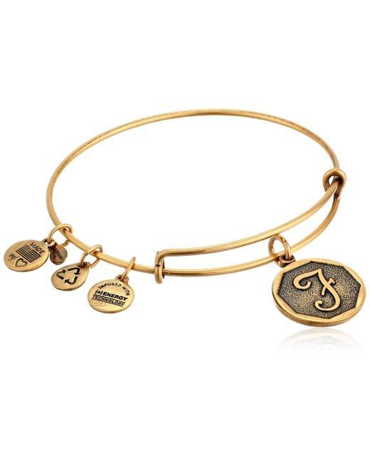 "ALEX AND ANI Metallic Rafaelian Gold-tone Initial ""x"" Expandable Wire Bangle Bracelet"