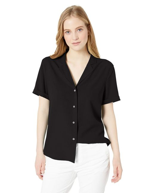 28 Palms Black Loose-fit 100% Silk Solid Blouse Shirt