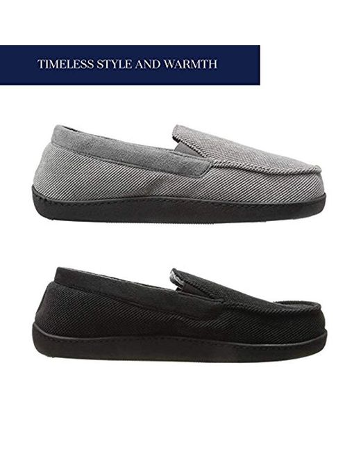 a4624761f7 ... Isotoner - Black Diamond Corduroy Moccasin Slipper With Cooling Memory  Foam For Indoor outdoor Comfort ...