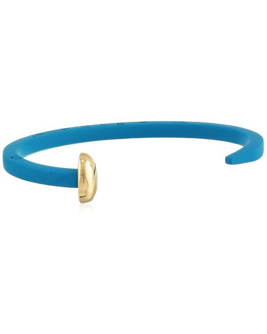 Giles & Brother Blue Giles And Brother Turquoise Rubberized Skinny Railroad Spike Cuff With Gold Finished Nail Head Cuff Bracelet