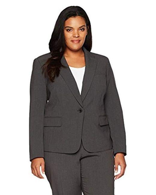 Anne Klein - Gray Plus Size Solid 1 Button Jacket - Lyst