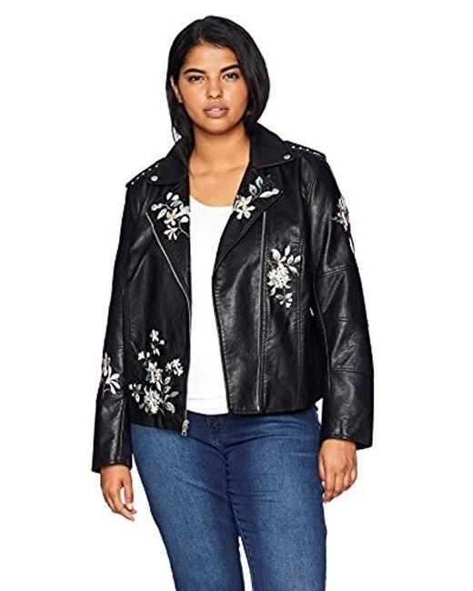 Levi's - Black Size Plus Faux Leather Embroidered Motorcyle Jacket - Lyst