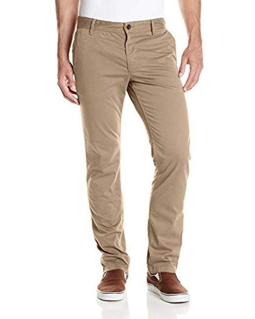 BOSS - Brown Boss Orange Schino Stretch Satin Slim-fit Pant for Men - Lyst