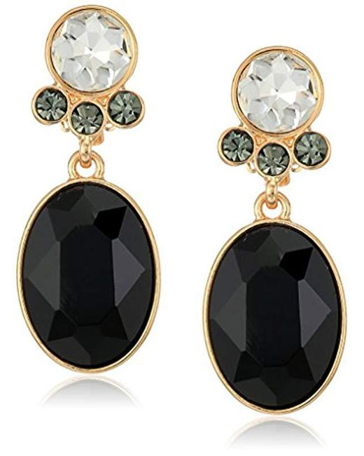 T Tahari - Metallic Uptown Jewels Btgd Ovl Jet Cry Clip-on Earrings, Color Gold, One Size - Lyst