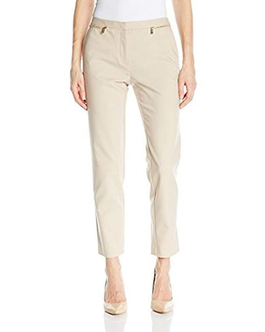 Calvin Klein - Natural Ankle Length Slim Fit Pant With Zipper Pockets - Lyst